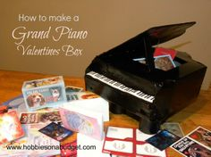Grand Piano Valentine Box.Turn a cereal box and toilet paper rolls into a grand piano!  #valentinesday