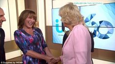 Starstruck: The Duchess became slightly starstruck when she was introduced to 'very famous' Lorraine Kelly