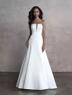 Gorgeously simple, this strapless gown features a perfect A-line silhouette and dramatic neckline. Allure Wedding Gowns, Bridal Wedding Dresses, Designer Wedding Dresses, Bridal Style, Bridesmaid Dresses, Formal Wedding, Wedding Ideas, Gown Gallery, Wedding Dress Shopping