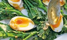 Hugh Fearnley-Whittingstall's eggs, purple sprouting broccoli, garam masala