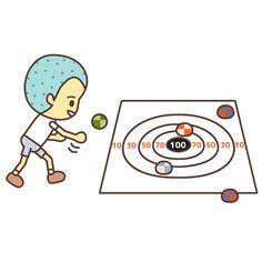 お手玉を投げて的を狙うゲームです。球投げゲーム、ボール投げ遊び。English page : Beanbag Throwing Game事前準備と道具の作り方お手玉を用意します。お手玉の作り方は「数珠玉でお手玉の作り方」を参照して下さい。的