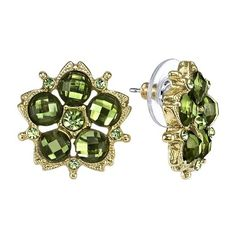 1928 Green Peridot Blossom Button Earrings ($10) ❤ liked on Polyvore
