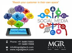 "Social Media Marketing : ""Making you reach your customers in their own space."" MGR DIGITECH Helps Grow Your Business Rapidly with More Followers and Social Engagement and Increased Sales. For more details Contact us today : Contact: Phone: +91 8688170003 +91 8688170008 Email-Id:info@mgrdigitech.com Website:www.mgrdigitech.com #MGR, #MGRDigitech, #Digital, #OnlineSales, #DigitalSolutions, #SocialMediaMarketing"