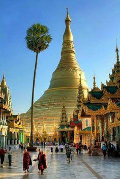 At the Schwedagin Pagoda in Yangon, Myanmar.