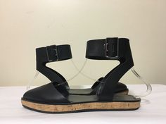 Alice Olivia Reese Black Leather Women's Ankle Strap Flats Sandals 37.5 / 7.5 M #AliceOlivia #AnkleStrapClosedToeFlatsSandals #Casual