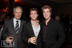 """Clint Eastwood poses with his sons Scott Eastwood and Kyle Eastwood at Warner Bros. Pictures Los Angeles Premiere of """"Invictus"""" in Beverly Hills, California (December Clint And Scott Eastwood, Actor Clint Eastwood, Hollywood Icons, Hollywood Actor, Hollywood Stars, Beverly Hills, Father Knows Best, Wife And Kids, Action Movies"""