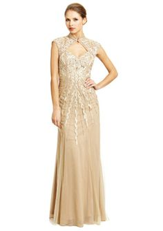 Sue Wong Parchment Mock Neck Embroidered Gown
