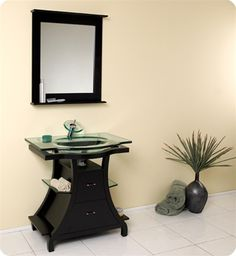 Buy the Fresca Espresso Direct. Shop for the Fresca Espresso Cortese Solid Wood Frame and Glass Vanity With Rectangular Mirror, Sink, Faucet and Installation Hardware and save. Modern Small Bathrooms, Small Bathroom Vanities, Wood Bathroom, Single Bathroom Vanity, Bathroom Furniture, Modern Bathroom, Bathroom Shelves, Bathroom Ideas, Master Bathroom