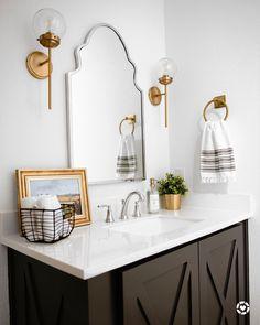 Silver Bathroom, Bathroom Sconces, Bathroom Hardware, Bathrooms, Bathroom Ideas, Bathroom Staging, Bathroom Designs, Lake Bathroom, Condo Bathroom