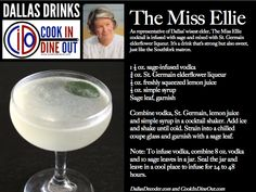 Dallas Drinks: The Miss Ellie (sage-infused gin, elderflower liqueur, lemon)