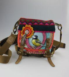 lilli pomerin Schultertasche Oktoberfest Dirndltasche Tasche bunte Handtasche Bag Vogel…lilliPomerin
