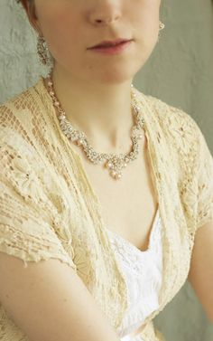 Garland of Roses Necklace | Handmade lace necklace with pink pearls, by Edera Jewelry