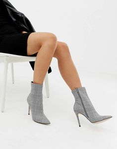 cf3f67af4e1  87.00 - Faith Beck gray plaid check heeled ankle  boots - Boots by Faith -