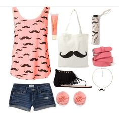 Mustache Outfit amber farrugia ❤ liked on Polyvore