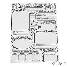 Perfect for crayons or markers. Encourages students to share facts about themselves and get to know their classmates better. Great for Spanish speakers and for creating a Student of the Week display in Spanish! per unit) x © OTC Spanish Classroom Activities, Spanish Teaching Resources, Back To School Activities, Classroom Ideas, Preschool Spanish, Classroom Charts, Bilingual Classroom, Teaching Activities, Teaching Ideas
