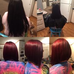 Long swing bob red before and after summer 2015