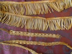 19TH-C ANTIQUE FRENCH GOLD METALLIC PASSEMENTERY TRIM BULLIONS AND SHELL