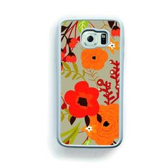 Retro orange and red flowers on brown for Galaxy S6