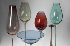 "Nils Landberg (Swedish, 1907-1991), Orrefors, ""Tulip"" Glass Goblets."