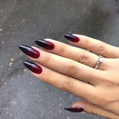 Black Almond Nails, Black Ombre Nails, Almond Acrylic Nails, Best Acrylic Nails, Goth Nails, Swag Nails, Witchy Nails, Stylish Nails, Trendy Nails