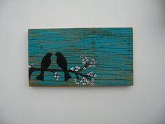Barnwood Art Sign Cherry Blossom Birds. $38.95