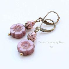Pink Hawaiian Pansy Flowers Brass Earrings Pink Czech Glass
