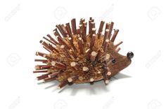 A hedgehog made out of wood branches