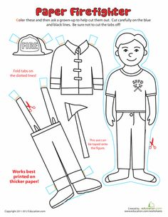 Worksheets: Paper Dolls: Fireman Community Workers, Community Helpers, Fire Safety Week, People Who Help Us, Helping People, Fire Prevention Week, Female Firefighter, Firefighter Career, 1st Grade Worksheets
