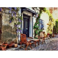 Bozcaada Pretty Landscapes, Backyard, Patio, Outdoor Settings, Old World, A Table, Wonderland, Exotic, Places
