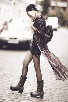 Not 100% feeling the cap but love the contrast between floaty plaid and chunky boots