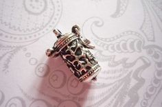 Time Capsule Prayer Box Locket in Antiqued Silver by Antiqued