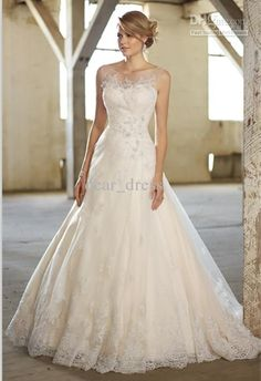 Wholesale Wedding Dress - Buy New Style Free Postage Hot Sale Modern Ball Gown Sheer Straps Watteau Applique Wedding Gown Y009, $153.41 | DHgate