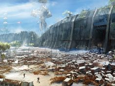 Cosmodrome is an official concept art for Destiny, the video game created by Bungie, Inc. The image has been made by artist Jesse van Dijk. Concept Art World, Environment Concept Art, Environment Design, Architecture Drawing Art, Post Apocalyptic Art, Destiny Game, Destiny Bungie, Futuristic City, Alien Worlds