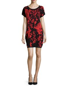 Diane von Furstenberg Alix Floral Daze Wool Sheath Dress, Black/Red, Women's, Size: SMALL