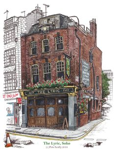 SCULLY, Pete, UK artist: -- 'The Lyric, Soho, Great Windmill St. London, UK' -- 2014