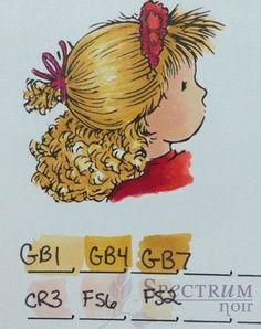 Blonde Hair Color Combinations - Spectrum Noir Colouring System from Crafter's Companion Blending Markers, Color Blending, Colour Combo, Alcohol Markers, Copic Markers, Alcohol Inks, Coloring Tips, Colouring Pages, Noir Color