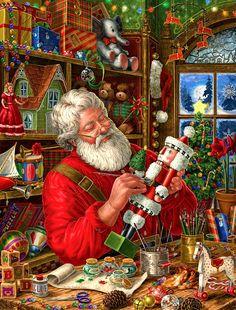 Weihnachtsmann in Illustration von Elizabeth Goodrick Dillon Christmas Scenes, Christmas Past, Christmas Pictures, Christmas Holidays, Christmas Crafts, Christmas Decorations, Xmas, White Christmas, Father Christmas