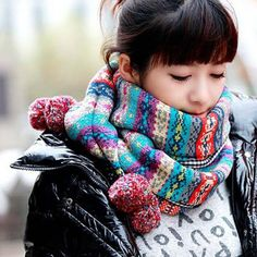 Chic Striped Pattern Fuzzy Ball Embellished Scarf For Women