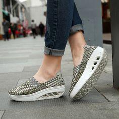 Platform Color Match Casual Rocker Sole Sport Slip On Shoes