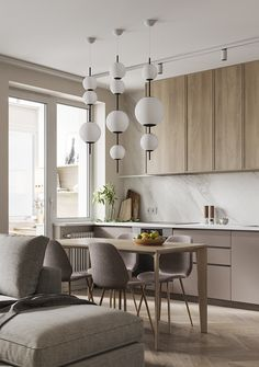 Design project and visualization of personal apartment in Moscow, Russia with 360 VR tour Modern Kitchen Interiors, Luxury Kitchen Design, Kitchen Room Design, Modern Kitchen Cabinets, Living Room Kitchen, Home Interior Design, French Kitchen Decor, Home Decor Kitchen, Kitchen Furniture