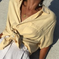 Vintage 100% silk golden shirt sleeve blouse. Size s-xl. $36 + shipping. SOLD