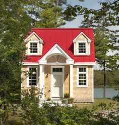 "The ""Oceanside Retreat"" is a tiny cottage designed and built by Creative Cottages in Freeport, Maine. Its exterior has dormer windows, a red roof and cedar s. Tiny House Movement, Cozy Cottage, Cottage Style, Cottage House, Backyard Cottage, Maine Cottage, Yellow Cottage, Backyard Retreat, Bungalow"