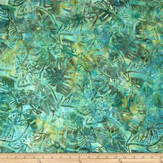 Artisan Batiks Totally Tropical Fern Leaves Seafoam from @fabricdotcom  Designed by Lunn Studios for Kaufman Fabrics, this Indonesian batik is perfect for quilting and craft projects as well as apparel and home décor accents. Colors include shades of green and blue.