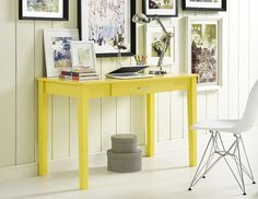 """Elegant 48"""" Yellow Computer Desk with Solid Wood Legs"""