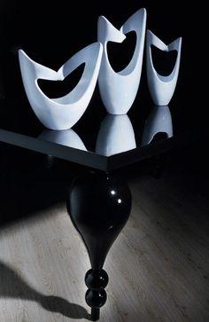 """Ribbon"" vases, ""Corina"" coffee table. Design Olga Sismanidou / Miracles. Styling for Zaros catalogue."