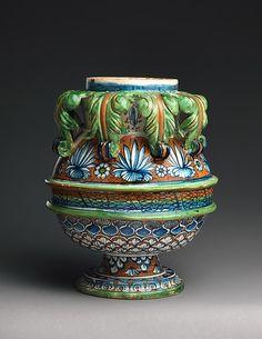 Vase or jar Date: ca. 1490–1500 Culture: Italian, probably Pesaro Medium: Maiolica (tin-glazed earthenware)