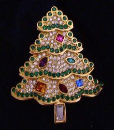 Signed Swarovski Christmas Tree Brooch Pin