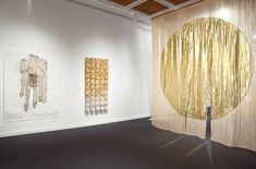 This exhibition was curated by Carol Westfall. In this detail the work of Junichi Arai, Kiomi Iwata and Reiko Sudo are featured. Photography by Richard Goodbody. Fabric Installation, Fabric Photography, Textiles, Gold Fabric, Japanese Design, Wall Spaces, Nice Body, Textile Art, Art Images