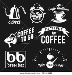 Coffee related labels, badges and design elements set. All you need is coffee. Coffee to go. Brew bar and coffee shop signs. - stock vector