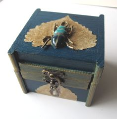 Steampunk Jewelry Box Small Wooden Brass Scarab Real Leaves Aspen Cottonwood Decoupage by VanessaStoryDesigns on Etsy